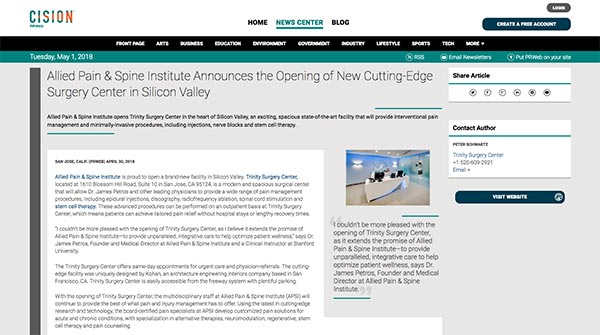 screenshot of the article: Allied Pain Spine Institute Announces the Opening of New Cutting-Edge Surgery Center in Silicon Valley