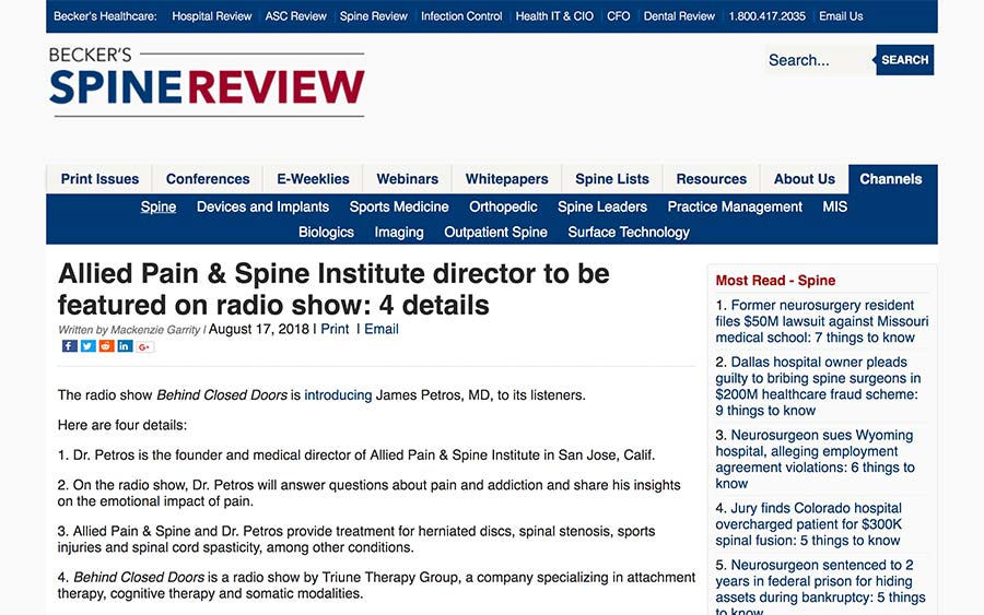 Screenshot of an article about Allied Pain & Spine Institute director to be featured on radio show.