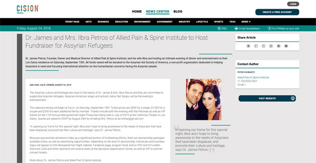Screenshot of an article on Dr. James and Mrs. Ilbra Petros of Allied Pain & Spine Institute to Host Fundraiser for Assyrian Refugees