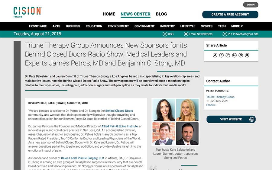Screenshot of an article about Behid Closed Doors radio show and its sponsors.