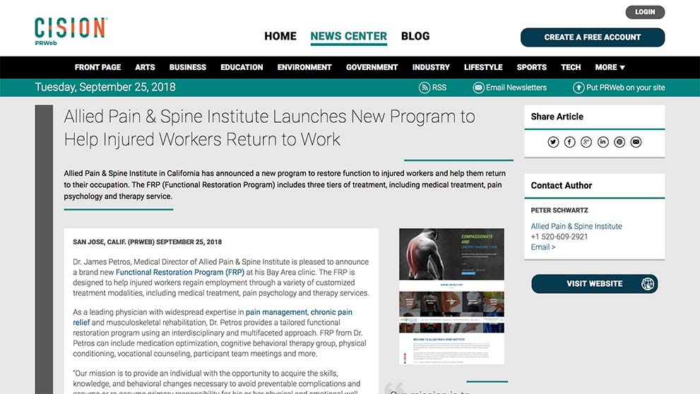 Screenshot of an article: Allied Pain & Spine Institute Launches New Program to Help Injured Workers Return to Work