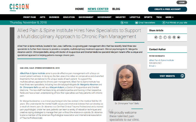Screenshot of an article: Allied Pain & Spine Institute Hires New Specialists to Support a Multidisciplinary Approach to Chronic Pain Management