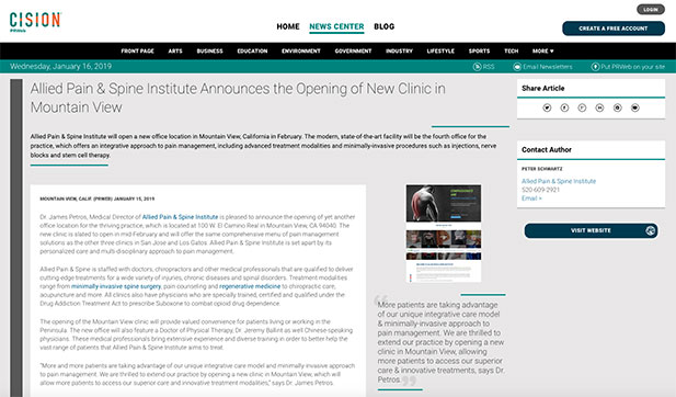 Screenshot of an article: Allied Pain & Spine Institute Announces the Opening of New Clinic in Mountain View