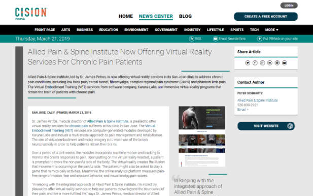 Screenshot of an article: Allied Pain & Spine Institute Now Offering Virtual Reality Services For Chronic Pain Patients