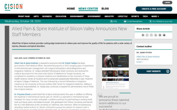 Screenshot of an article: Allied Pain & Spine Institute of Silicon Valley Announces New Staff Members