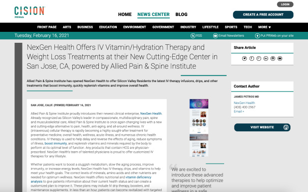 Screenshot of an article: NexGen Health Offers IV Vitamin/Hydration Therapy and Weight Loss Treatments at their New Cutting-Edge Center in San Jose, CA, powered by Allied Pain & Spine Institute